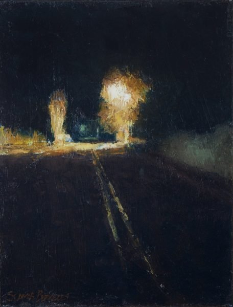 Oil painting of a night scene along a street in Taos, New Mexico.