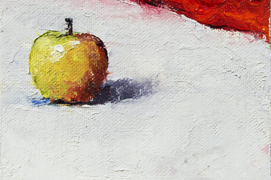 Apple on White Painting Seamus Berkeley