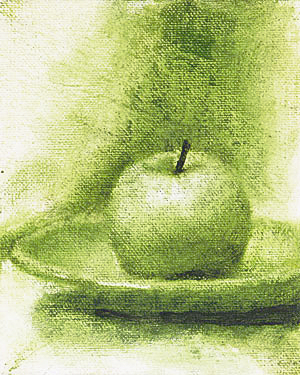 Green Apple Monochromatic Painting Seamus Berkeley