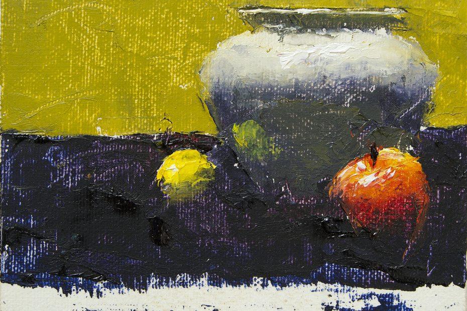 Lemon White Vase Apple Painting Seamus Berkeley