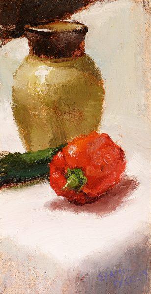 Red Pepper and Vase Painting Seamus Berkeley