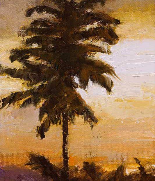 Tree Sunset Painting Seamus Berkeley